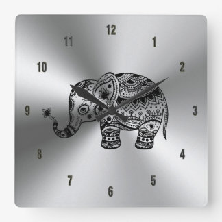 Black Floral Elephant Metallic Silver Square Wall Clock