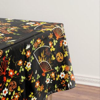 Black Floral Fans Girly Pattern Table Cloth