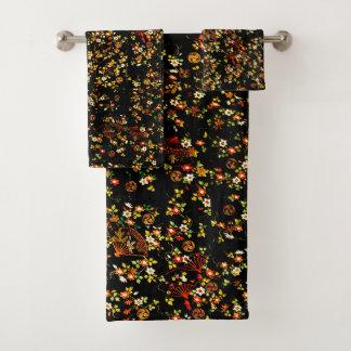 Black Floral Fans Girly Pattern Towel Set