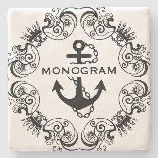 Black Floral Frame & Nautical Anchor Monogramed Stone Coaster
