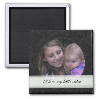 Black Floral Framed: Sister: Picture Magnet