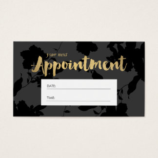 Black Floral Gold Text Salon Appointment Business Card