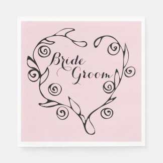 Black Floral Heart Bride And Groom Napkins Paper Napkins