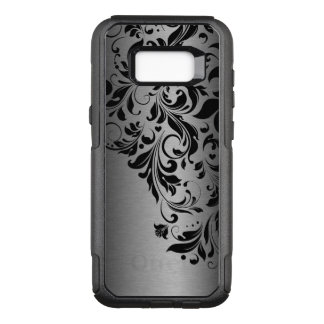 Black Floral Lace & Metallic Gray Texture OtterBox Commuter Samsung Galaxy S8+ Case