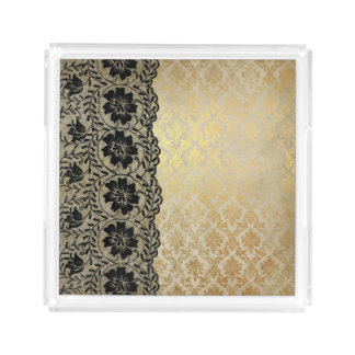 Black Floral Lace over Gold & White Damask Serving Tray