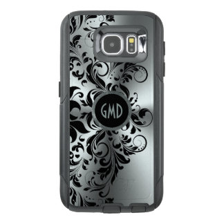 Black Floral Lace Shiny Silver Background