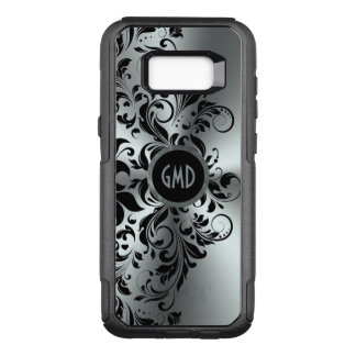 Black Floral Lace Shiny Silver Background GR4 OtterBox Commuter Samsung Galaxy S8+ Case