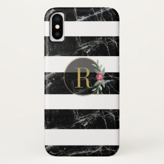 Black Floral Marble Phone Case