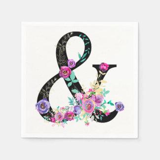 Black Floral Modern Ampersand Chic Spring Wedding Disposable Napkins