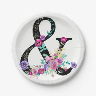 Black Floral Modern Ampersand Chic Spring Wedding Paper Plate
