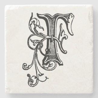 Black Floral Monogram 'F' Stone Coaster