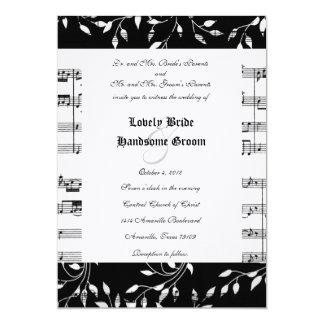 Black Floral Music Wedding Invitation