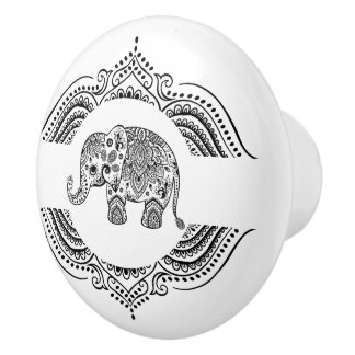 Black Floral Paisley Elephant Ornate Lace Frame Ceramic Knob