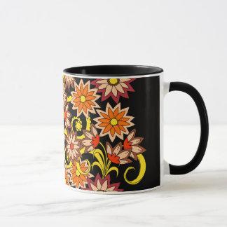 black floral pattern in boho style mug