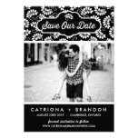 BLACK FLORAL PATTERN   SAVE THE DATE ANNOUNCEMENT