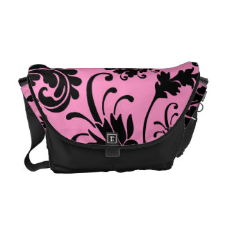 Black Floral (Pink) Courier Bag