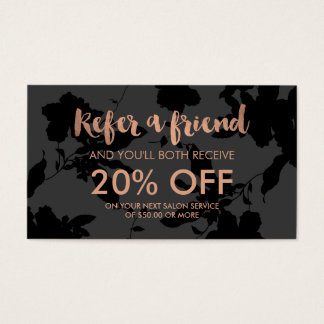 Black Floral Rose Gold Text Salon Referral Card