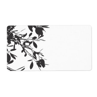 Black Floral Shipping Label