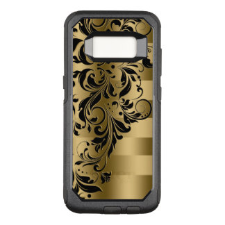 Black Floral Swirls Lace Over Gold Stripes OtterBox Commuter Samsung Galaxy S8 Case