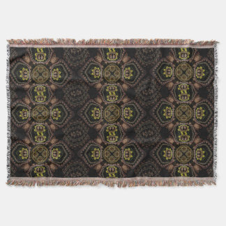 Black Floral Victorian Pattern Throw Blanket