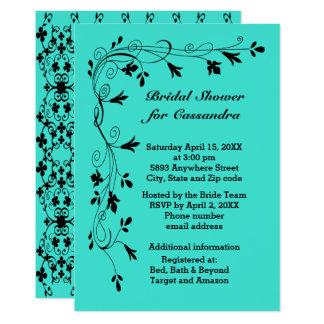 Black Floral Vines Turquoise or Color Bride Shower Card