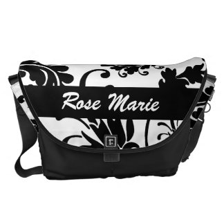 Black Floral (White) Commuter Bags