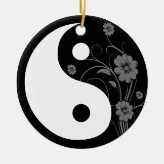Black Floral Yin Yang Ceramic Ornament