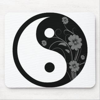 Black Floral Yin Yang Mouse Pad