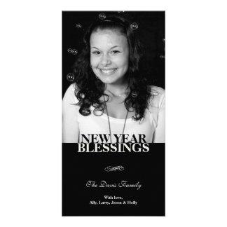 Black flourish elegant new year holiday greeting customized photo card