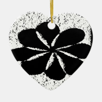black flower ceramic heart ornament