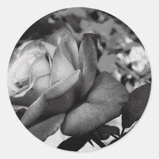 Black Flower Classic Round Sticker
