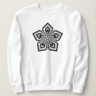 Black Flower Mandala #01 Women's  Sweatshirt