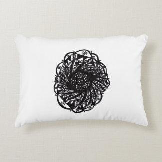 Black Flower Mandala Decorative Pillow