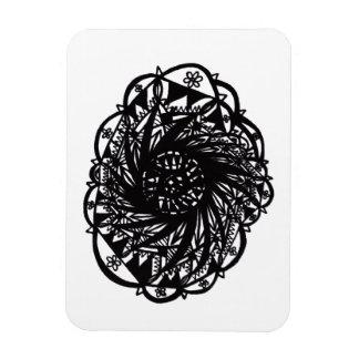 Black Flower Mandala Magnet