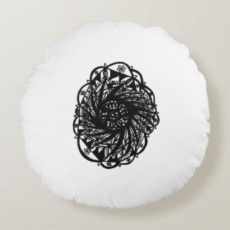 Black Flower Mandala Round Pillow