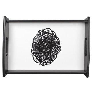 Black Flower Mandala Serving Tray