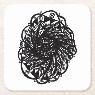 Black Flower Mandala Square Paper Coaster