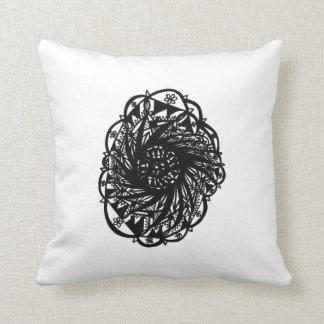 Black Flower Mandala Throw Pillow