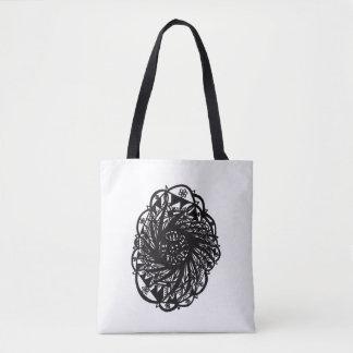 Black Flower Mandala Tote Bag