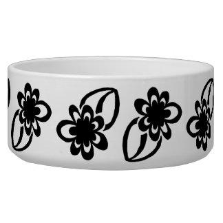 Black Flower Pet Bowl