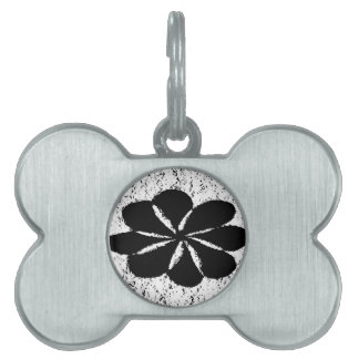 black flower pet name tag