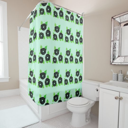 Black Flowered Shower Curtain