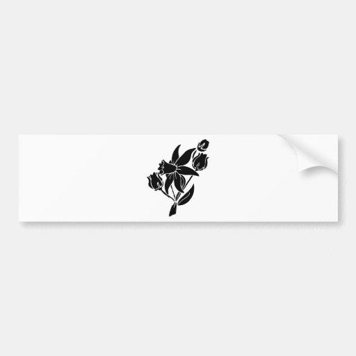Black Flowers Bumper Sticker