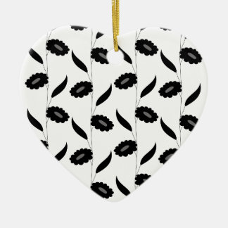 Black flowers ceramic heart ornament