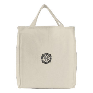 Black Flowers Monogram Embroidered Bag