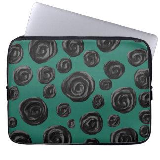 Black flowers on jade green. laptop sleeve