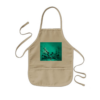 Black flowers on soft background kids apron