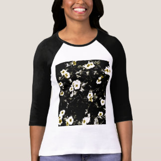 Black flowers on T shirt