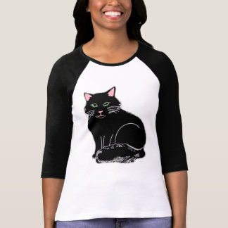 Black Fluffy Cat Ladies Raglan T-Shirt