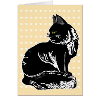 Black Fluffy Cat with Hearts Beige Greeting Card